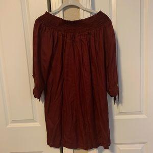 maroon off the shoulder dress